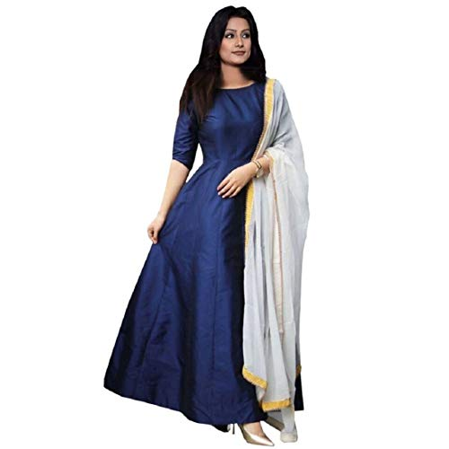 DD's Creation Dark Blue Tafeta Silk Plain Semi stitched Gown with Dupatta