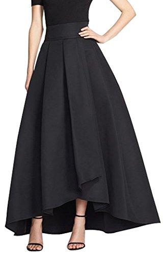 CoutureBridal® Damen Rock Vintage Elegant Faltenrock Asymmetrisch Abendrock A Linie Schwarz EU36