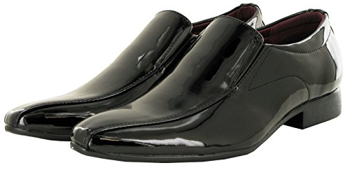 Mens-Gents-Slip-On-Black-White-Patent-Smart-Evening-Shoes