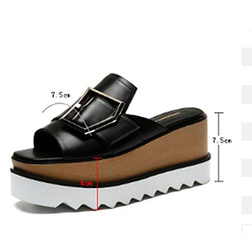 Confortable Pantoufles en cuir à talons hauts à l'été Usure extérieure table imperméable à l'eau chaussons froids Chaussures épaisses Pente avec pantoufles (2 couleurs en option) (taille optionnelle)  A