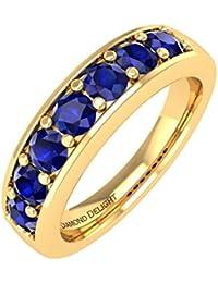 10K Gold Blau Saphir HOCHZEIT/Jahrestag Band Ring (3/4Karat)