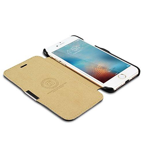 Luxus Tasche für Apple iPhone 8 Plus und iPhone 7 Plus (5.5 Zoll) / Case mit Echt-Leder Außenseite / Schutz-Hülle seitlich aufklappbar / ultra-slim Cover / Etui im Vintage Look / Innenseite aus Kunst- Schwarz