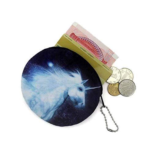 RQWY Geldbörse Neuheit 3D Druck Einhorn/Schädel Kopf Reißverschluss Plüsch Geldbörse Kawaii Kinder Geldbörse Frauen Geldbörse Mini Handtasche -