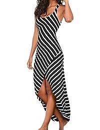 Vestidos Largos Verano,Beikoard La Mujer Casual Vestido sin Mangas Vestido de Rayas Loose Long