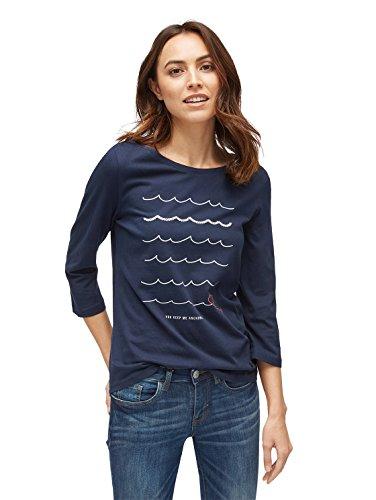 TOM TAILOR für Frauen T-Shirt 3/4 Arm Shirt mit Print Real Navy blue1 XL
