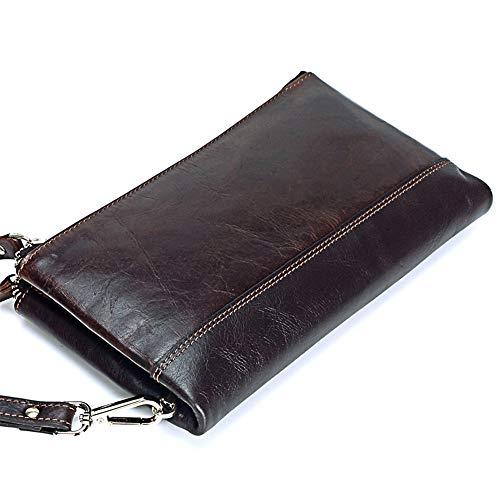 Doppel-brieftasche (Herren Clutch, Doppel-Reißverschluss-Leder Lange Brieftasche, herausnehmbarer Kreditkarteninhaber, Kartenorganisator, Clutch für Herren, Geldbörse, Münzfach, Mobile Wallet, Geschenkbox,Brown)
