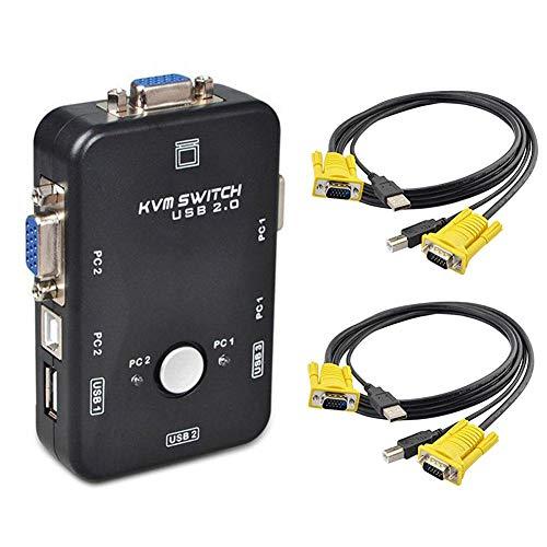 smileyshy Switch kvm Kabel Switcher, Kabel Switch KVM Kabel 2.0 KVM Switch Port für Computer Maus und Tastatur Monitor