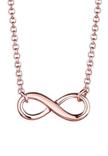 Elli Damen Schmuck Halskette Kette mit Anhänger Infinity  Unendlichkeit Liebe Freundschaft Forever Liebesbeweis Silber 925 Rosé Vergoldet Länge 38 cm