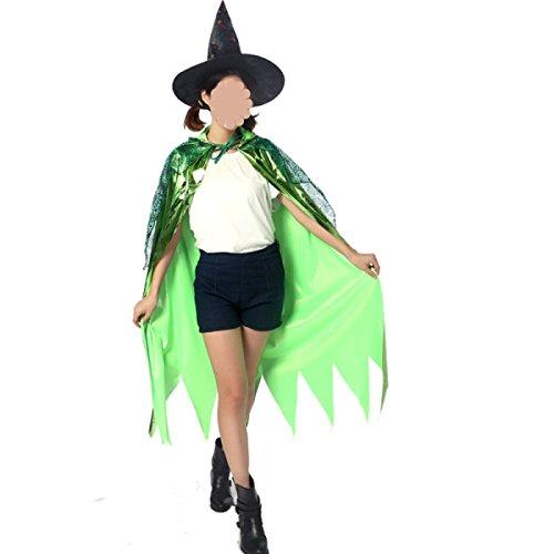 GEXING Halloween Mantel Kinder Mantel Hut Erwachsene Fee Teufel Hexe Hexe Cosplay Make-up Tanz ,Green-1.2Meters