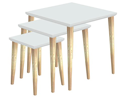 Tosel Julie Julia, Tables Gigogne carré, Bois Massif, Naturel, 45 x 45 x 45 cm