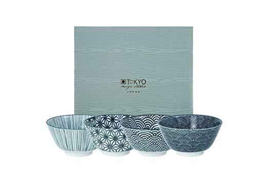 Casalanas Tokyo Design Studio Nippon Noir, 4 x Bols de Lot de 4 pièces, Ø 12 cm Porcelaine à partir du Japon