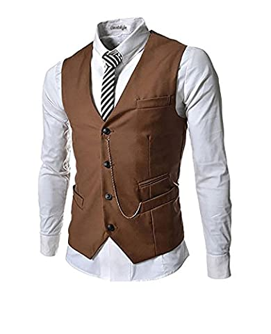 homme garçon gilet V-neck veste sans manches Slim Fit Jacket costume d