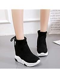 Shukun Botines Calcetines Zapatos Mujer Sección de otoño Medias elásticas aumentadas Botas Altas para Ayudar a