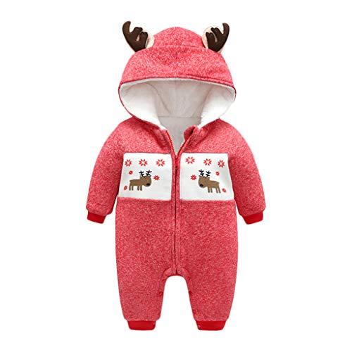 Livoral Kinder Wintermantel Jacke Junge Säuglingsbabyjunge Weihnachtsbuchstabeoverall-Strumpfhosen-Anzugskleidung(B-Rot,0-3 Monate)