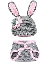 JTC Bébés 0-12 Mois Ensembles Bonnet Vêtement Photographie/Déguisement Crochet en Velours Forme Lapin