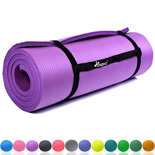 TRESKO Fitnessmatte Yogamatte Pilatesmatte Gymnastikmatte | 185cm x 60cm oder 190cm x 100cm | 1.0cm oder 1.5cm stark | Phthalates-getestet | hautfreundlich | kälteisolierend | Lila 190x100x1.5cm