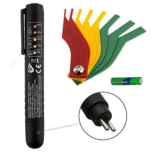 JTENG Tester per liquido dei freni, Brake Fluid Tester Pen per auto con indicatore a 5 LED, DOT 3/4/5 per veicoli (versione in lingua inglese)
