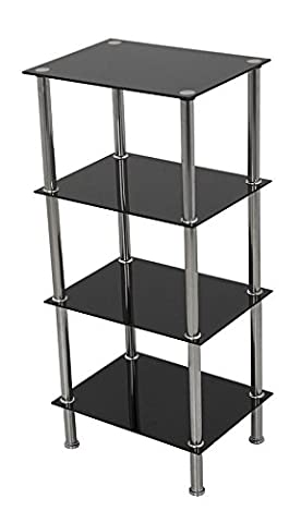 Black Glass 4 Tier Square Shelf Shelving Unit Display Cabinet