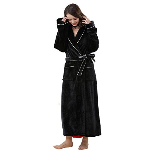 (no brand) corallo pile flanella accappatoio femminile sexy inverno caldo Spessore allungato coppia maschio pigiama Robes Winter Home Furnishing [Parallel input], Poliestere, Red, medium Black