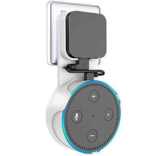 Vobon Wandhalterung Ständer für Dot 2, Wunderbare Halterung Zubehör für Smart Home-Lautsprecher, ohne Unordentlich Kabel oder Schrauben, Angehängt (Ladekabel ist Enthalten) (Weiß)