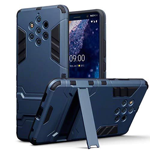 TERRAPIN Coque Nokia 9 PureView, Double Couche Étui Rigide avec Fonction Stand pour Nokia 9 PureView Étui - Bleu Foncé