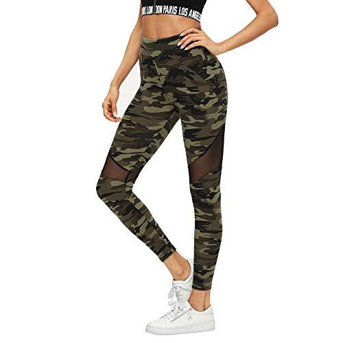SOLY HUX Damen Sport Camouflage Leggings Mesh Camo Leggins Bunt Sporthose Capris Jogger Fitnesshose Sweathose Farbe #1 S