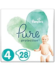 Pampers Pure Protection Size 4, 28 Nappies, 9-14kg, Made With Materials Containing Premium Cotton And Plant-Based Fibres