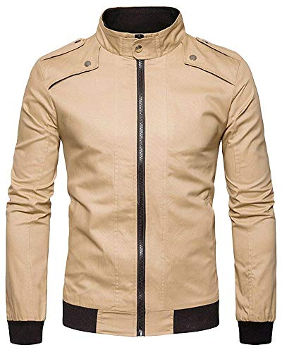 Herren Bomber Classic Trendiges Jacke Zipper Bomberjacke Langarm Mit Zipper Pilotenjacke Fliegerjacke (Color : Kaki, Size : M)