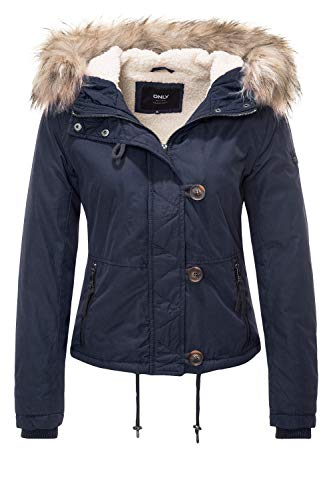 ONLY Damen Jacke onlPEYTON AW Short FUR Jacket CC OTW, Blau Night Sky, 40 (Herstellergröße: L)