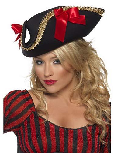 Luxuspiraten - Kostüm Accessoires Zubehör Damen Edler Piraten Hut Dreispitz mit Schleife und Verzeirung, perfekt für Karneval, Fasching und Fastnacht, Schwarz (Keira Knightley Piraten Der Karibik Kostüm)