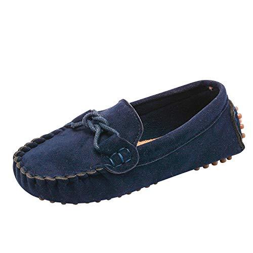 Loafer Weichen Sohlen Leder Schuhe (De feuilles Mädchen Jungen Mokassins Slip On Bowknot Schuhe Weich Wildleder Loafers Baby Weich Sohle rutschfest Lauflernschuhe Freizeitschuhe)