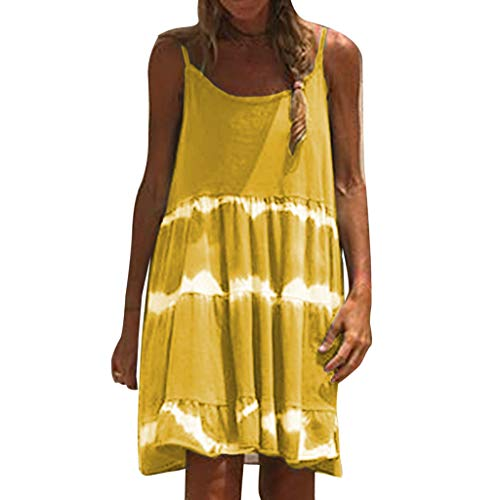 Komise Ärmelloses Batik-Kleid aus europäischer und amerikanischer Damen-Trend-Persönlichkeit (XL, Gelb)