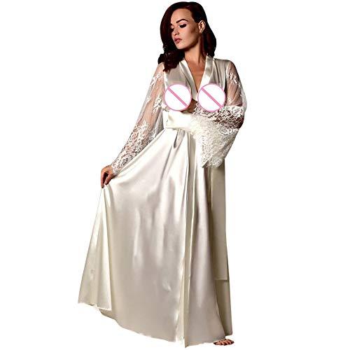 (B-commerce Damen Frauen Luxuriöse Satin Langes Nachthemd Silk Dessous Sexy Robe Nachthemd Patchwork Weiche Nachtwäsche Kleid)