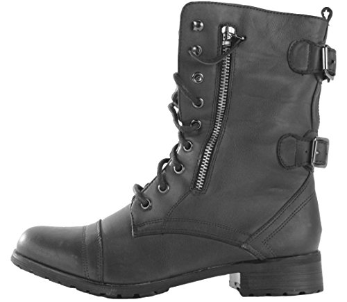 womens-ladies-combat-style-army-worker-military-flat-low-heel-lace-up-ankle-boots-size