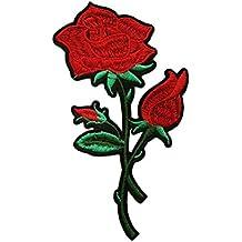 Rosa bordado coser en parche insignia bordado bolsa de Flora Applique