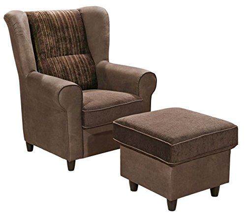 CANYON Sessel mit Hocker Hochsessel Ohrenbackensessel Einzelsessel Braun