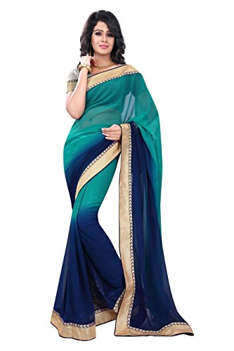 Florence Saree with Blouse Piece (FL-10585_Green and Blue_Freesize)