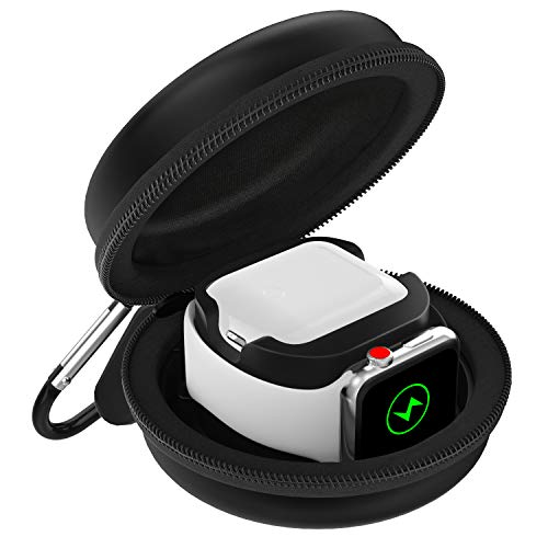 MoKo Custodia Protettiva Custodia Airpods Box, Smartwatch Apple Orologio con Chiusura a Cerniera, Base Ricarica, Custodia Rigida per Airpods Auricolare Box, Apple Watch Serie 1/2/ 3/4 - Nero