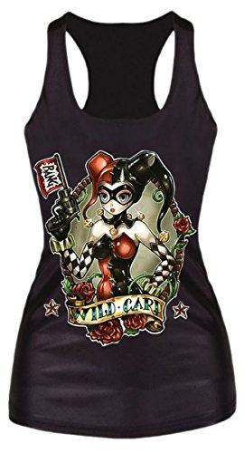 Lewi Brun - Damen Harley Quinn Tank Top Shirt Print , Größe One Size S-M, Mehrfarbig, Größe One Size, Mehrfarbig (City-halloween-kostüm Harley Quinn Arkham)