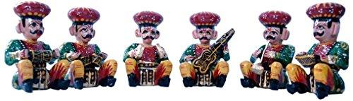 The Hue Cottage Dekorative Musiker bawla Set mit 6 Stück Indische Handgemachte Rajasthani Statue aus Holz Figuren Geschenkartikel Dekor