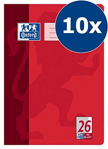 OXFORD 100050330 Schulheft Schule 10er Pack A4 32 Blatt Lineatur 26 - kariert mit Rand rot