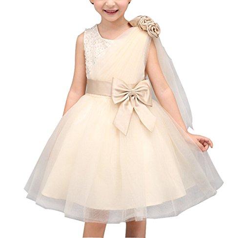 dchen Prinzessin Kleid Festlich für Hochzeit Tüll Schichten mit Strass und Schleife Dekor Ärmellos Champagner Gr.110 (Halloween-dekor)