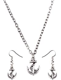 Young & Forever Valentine Gifts Special Inspirational Collection Silver Plated Anchor Pandant Necklace And Earring...