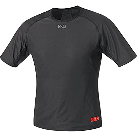 GORE BIKE WEAR Herren Unterzieh-Shirt, Kurzarm, Stretch, GORE WINDSTOPPER, BASE LAYER WS Shirt, Größe: M, Schwarz, UWSHMS