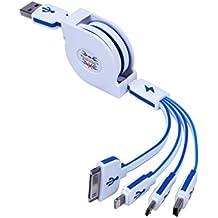J2CC multi retractable del cargador 4 en 1 USB de carga múltiple Conector de adaptador de cable con 8 pines relámpago / 30 Pin / Micro USB 2.0 / Mini puertos USB para todos los iPhone, iPad, iPod, Android, Amazon Kindle, mp3, mp4, banco de la energía, de coches cargador, y más (100 cm, blanco + azul oscuro)