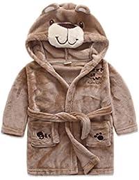 OOFAY Pijamas para Niños Y Niñas Albornoces De Estilo Animal De Dibujos Animados De Franela Batas De Bebé,Brown,130Cm