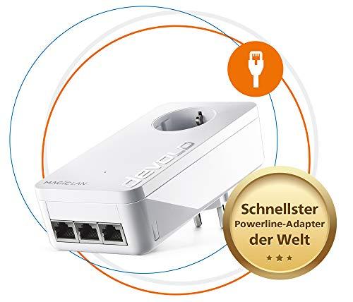Devolo Magic 2 LAN Triple: Adaptador de complemento para Red doméstica Estable vía alimentación a través de Paredes y techos, tecnología G.hn, 3 Puertos Gigabit LAN