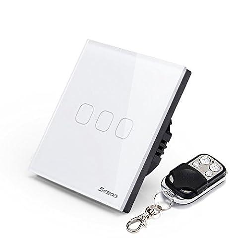 sesoo Fernbedienung Switch 3Gang 1Way Touch Schalter Kristallglas Panel