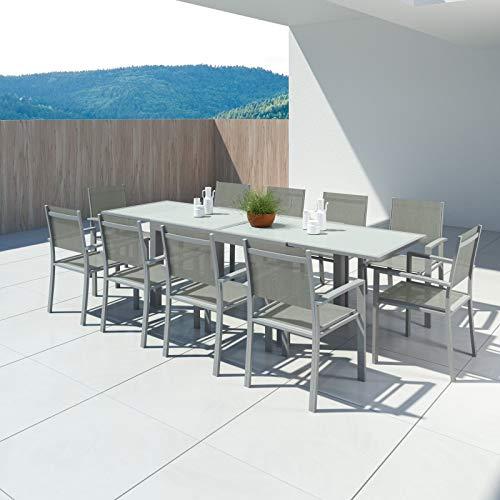 Avril Paris Hara XL - Table de Jardin Extensible Aluminium 140/280cm + 10 fauteuils textilène Argentée