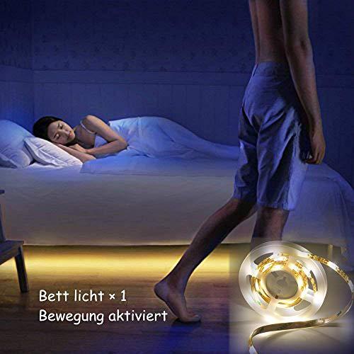 Jindia Dimmbar Bewegung aktiviert Bett Licht, Flexible LED Streifenlicht, Auto Ein/Aus Bewegungsmelder Nachttischlampe, Bewegung aktivierte LED-Lichtleiste (ein Sensoren) Flexibles Licht